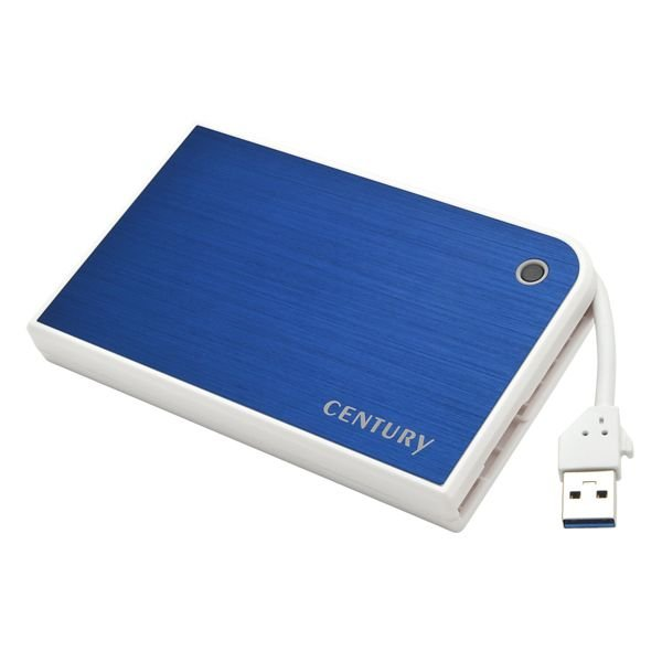 センチュリー CMB25U3BL6G [MOBILE BOX]携帯に便利なUSBケーブル収納式 2.5インチHDDケース(ブルー&ホワイト)