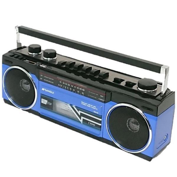 アナログ デジタル ステレオ ラジカセ SANSUI SCR-B2  Bluetooth MP3 スピーカー 80年代 レトロデザイン|49shop|01