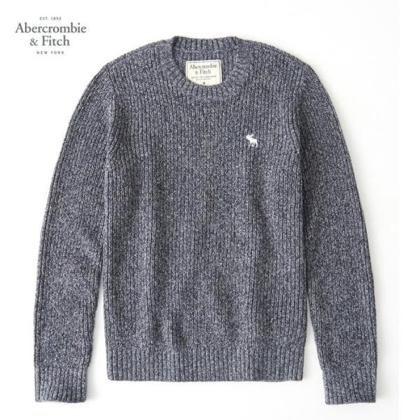 アバクロ ニット Abercrombie & Fitch メンズ ケーブルニット 長袖 Mens Crew Sweater A&F ab681 ネイビー|5445