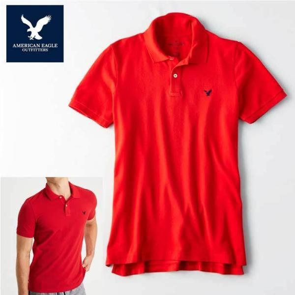 アメリカンイーグル ポロシャツ 半袖 メンズ AE American Eagle ae2001 レッド メール便送料無料|5445