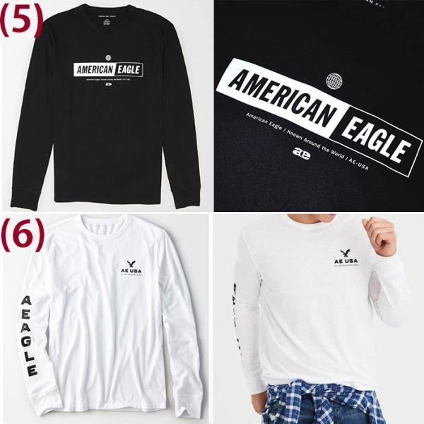 アメリカンイーグル メンズ  ロングTシャツ ae261 ホワイト ブラック ネイビー オリーブ|5445|04