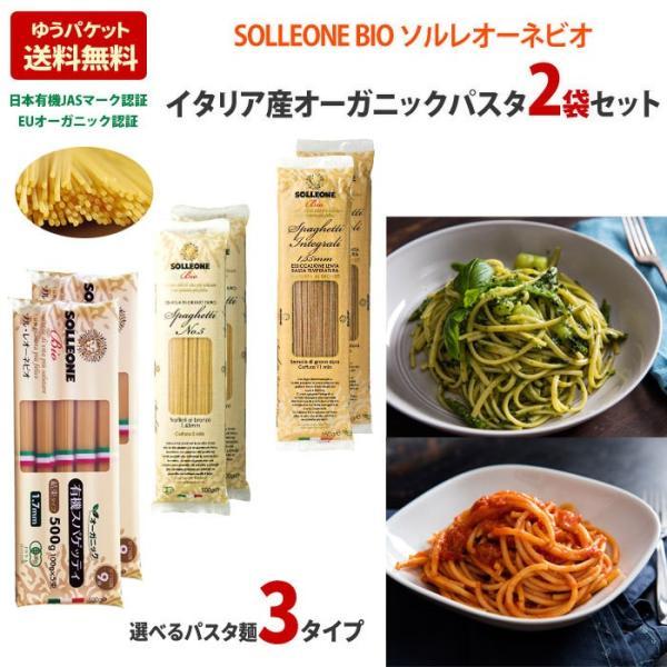 オーガニック パスタ 2袋セット イタリア産 有機デュラム小麦100% ソル・レオーネビオ パスタ SOLLEONE Bio 送料無料 乾麺 全粒粉 1.7mm 1.65mm 無農薬 sol01