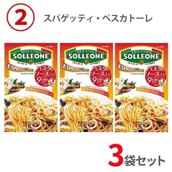 エスプレッソパスタ 即席スパゲティ SOLLEONE お試し3点セット  軽量フリーズドライ 非常食 アウトドアに 送料無料 sol02|5445|03