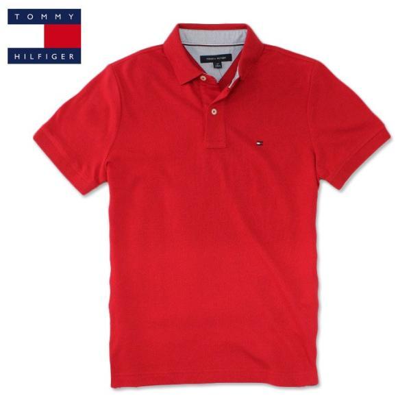 トミー TOMMY HILFIGER トミーヒルフィガー メンズ ポロシャツ t518 レッド|5445
