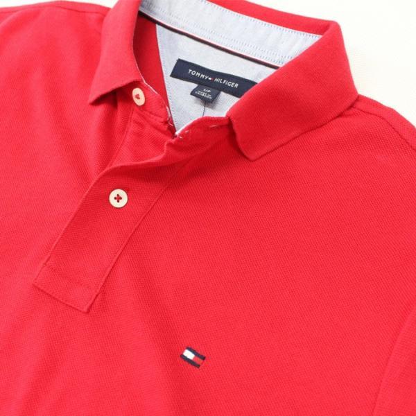 トミー TOMMY HILFIGER トミーヒルフィガー メンズ ポロシャツ t518 レッド|5445|02
