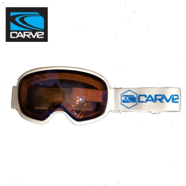 【CARVE】カーブ First track スノーゴーグル フレームレス 球面ゴーグル Orange Low light Lens wiyh Blue Iridium レディース ジュニア向け ホワイト