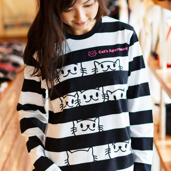 長袖 Tシャツ ロンT メンズ レディース 猫 Cat's Apartment - ブラック x ホワイト ネコ ねこ 猫柄 雑貨 - 長袖 ボーダー Tシャツ SCOPY スコーピー 55scopy