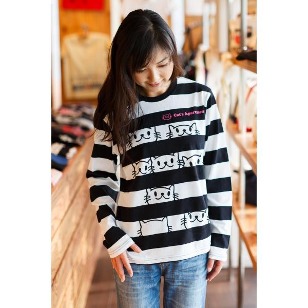 長袖 Tシャツ ロンT メンズ レディース 猫 Cat's Apartment - ブラック x ホワイト ネコ ねこ 猫柄 雑貨 - 長袖 ボーダー Tシャツ SCOPY スコーピー 55scopy 02