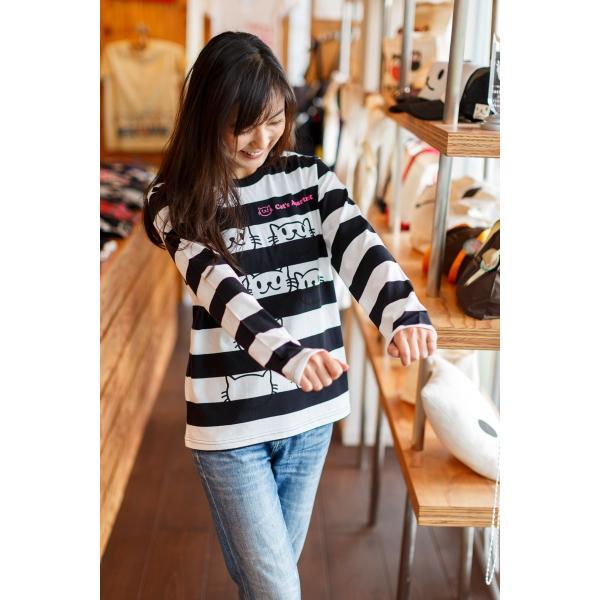長袖 Tシャツ ロンT メンズ レディース 猫 Cat's Apartment - ブラック x ホワイト ネコ ねこ 猫柄 雑貨 - 長袖 ボーダー Tシャツ SCOPY スコーピー 55scopy 03