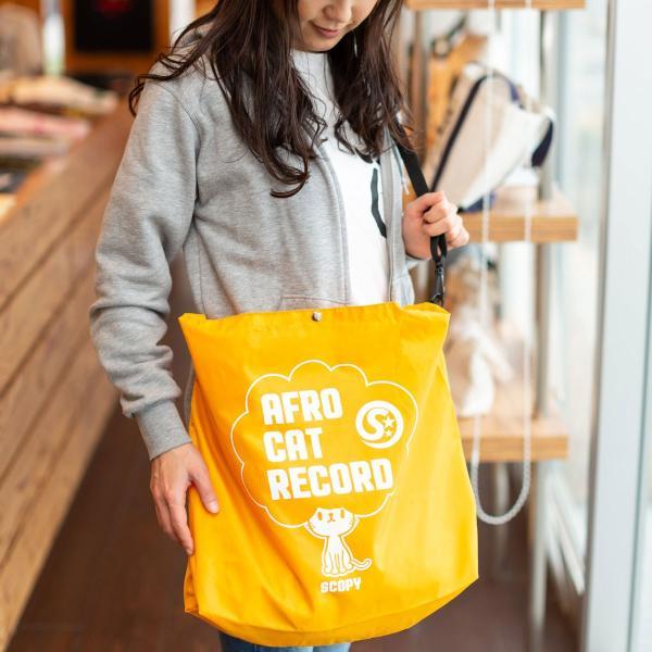 猫 マルシェバッグ AFRO CAT RECORD ( オレンジ ) ネコ ねこ 猫柄 雑貨 お買い物 エコバッグ - メール便 - SCOPY スコーピー