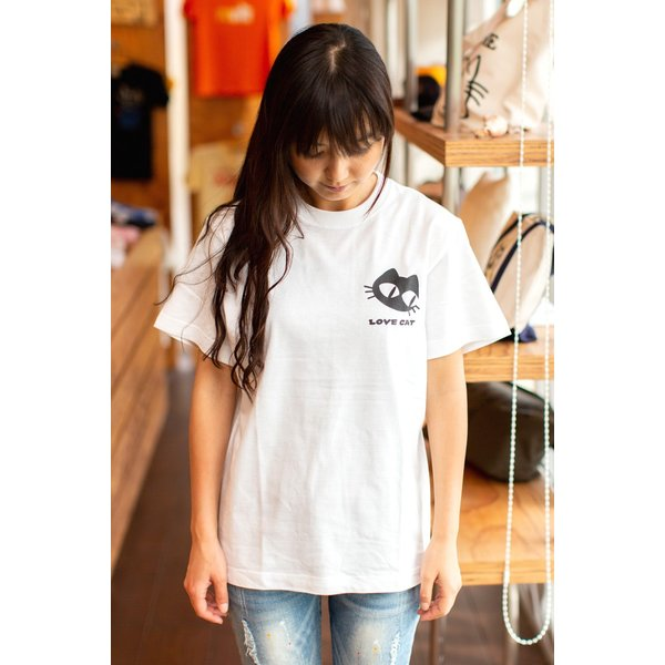猫 Tシャツ メンズ レディース 半袖 LOVE CAT - ホワイト おもしろ ネコ ねこ 猫柄 雑貨 - メール便 - SCOPY スコーピー 55scopy 03