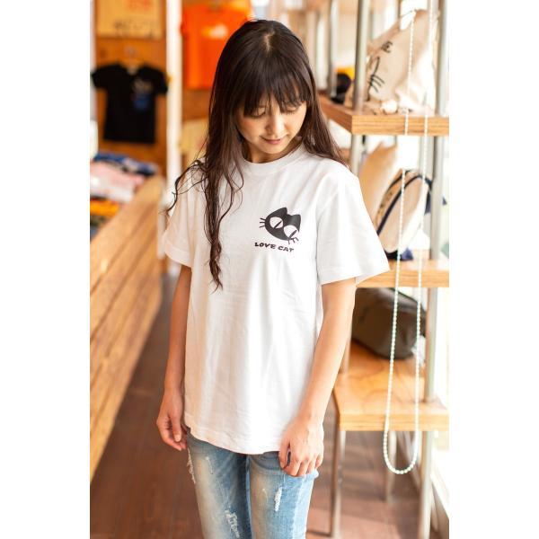 猫 Tシャツ メンズ レディース 半袖 LOVE CAT - ホワイト おもしろ ネコ ねこ 猫柄 雑貨 - メール便 - SCOPY スコーピー 55scopy 05