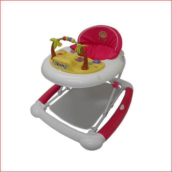 ベビーウォーカーZOO ピンク JTC まあるい歩行器 シンプル 乗用 おもちゃ ギフト 歩行 便利 折りたたみ 誕生日プレゼント 子供