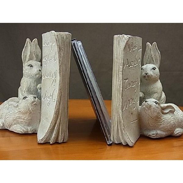 アンティーク調雑貨 置物 オブジェ アンティーク調 モールドアニマル ブックエンド うさぎ 本立て 兎 ウサギ かわいい おしゃれ インテリア