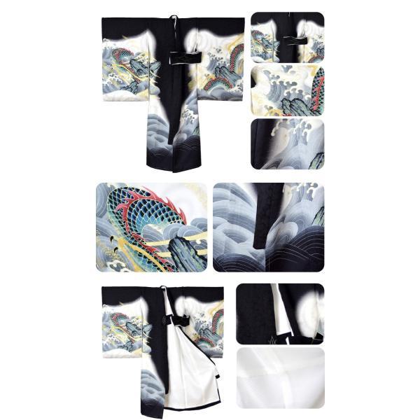 お宮参り 着物 男の子 掛け着 昇り竜・黒白 MJ02 初着 産着 祝着 一つ身 のしめ 日本製 赤ちゃん 男の子 男児 宅配便のみ 10017192|753ya|03