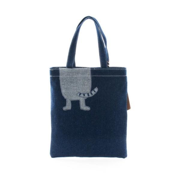 ホワイトデーお返し 2019SS ネコまるけデニム 手提げバッグ 19-3369(コン) CAT 猫 メガネちゃん 雑貨 カバン BAG 鞄 トート|7top|02