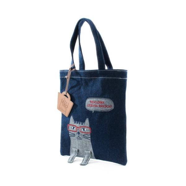 ホワイトデーお返し 2019SS ネコまるけデニム 手提げバッグ 19-3369(コン) CAT 猫 メガネちゃん 雑貨 カバン BAG 鞄 トート|7top|03