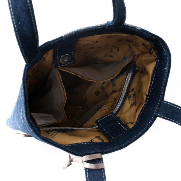 ホワイトデーお返し 2019SS ネコまるけデニム 手提げバッグ 19-3369(コン) CAT 猫 メガネちゃん 雑貨 カバン BAG 鞄 トート|7top|05