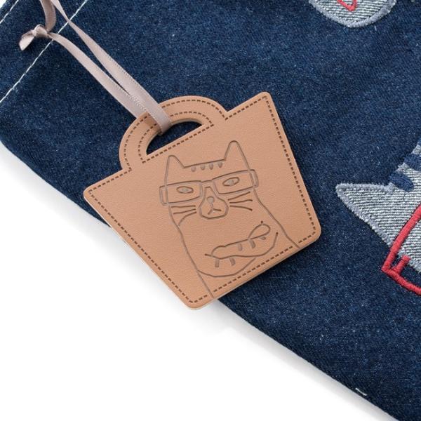 ホワイトデーお返し 2019SS ネコまるけデニム 手提げバッグ 19-3369(コン) CAT 猫 メガネちゃん 雑貨 カバン BAG 鞄 トート|7top|07