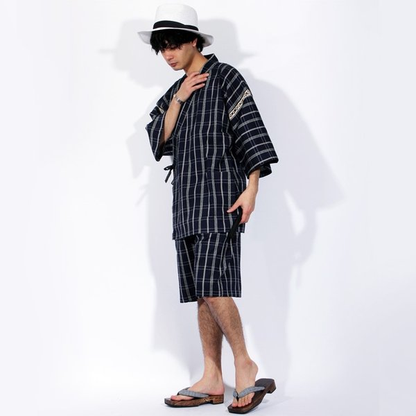 甚平 じんべい メンズ しじら織り 紳士 男性 上下セット 涼しい|8-eight|07