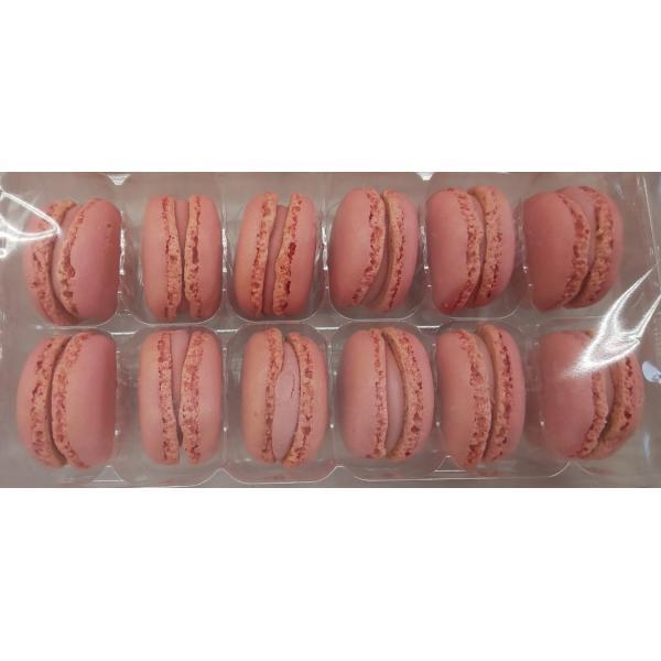 冷凍 マカロン ストロベリー 1箱(12個×3P)×9箱(箱2,952円税別) 業務用 冷凍 他にチョコレート、ピスタチオ、バニラ、レモン取り扱いあります。