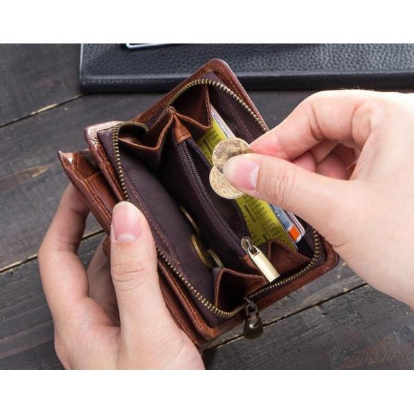 財布 メンズ 三つ折り財布 本革 牛革 お札入れ 小銭入れ カード入れ ジーンズポケット入れ 大容量 彼氏  プレゼント ギフト さいふ サイフ 8787-store 16