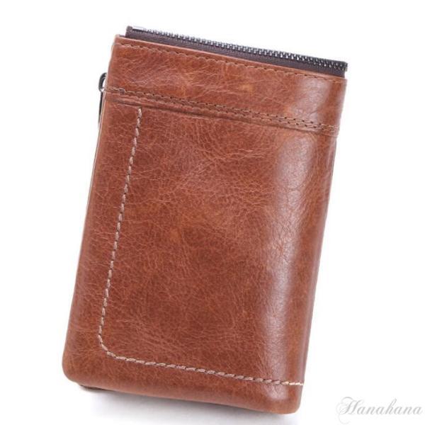 二つ折り財布 メンズ 財布 サイフ さいふ 本革 牛革 小銭入れ ファスナーポケット カード入れ 軽量 8787-store 02