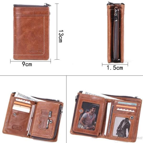 二つ折り財布 メンズ 財布 サイフ さいふ 本革 牛革 小銭入れ ファスナーポケット カード入れ 軽量 8787-store 03