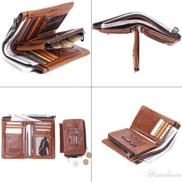 二つ折り財布 メンズ 財布 サイフ さいふ 本革 牛革 小銭入れ ファスナーポケット カード入れ 軽量 8787-store 04