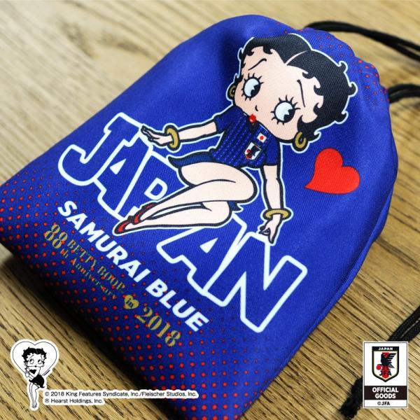 Betty Boop×侍ブルー BETTY BOOP 巾着 サッカー日本代表ver.