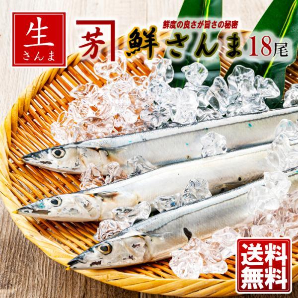釧路 高木商店 鮮さんま 18尾 送料無料 生秋刀魚 生サンマ 刺身でも 生さんま くしろより 冷蔵 訳あり 資材不足の為「写真と違う箱」が届く場合があります