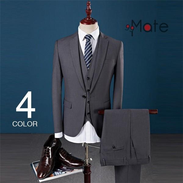スーツ細身 3ピーススーツ メンズ スリーピーススーツ ビジネススーツ 1つボタン 結婚式 就職 入学 スーツ 卒業式 新生活
