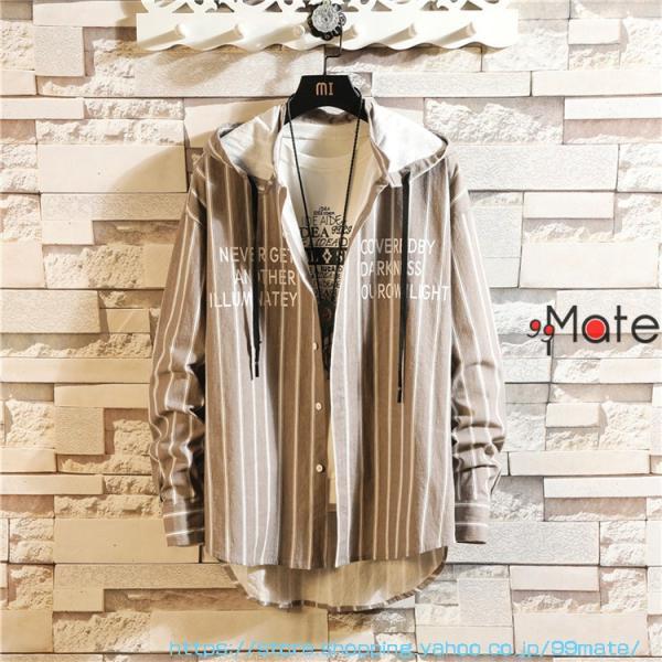 カジュアルシャツ メンズ 長袖 パーカー ストライプ シャツコート ジャケット シャツ ロング丈 アウター ライトアウター|99mate|03