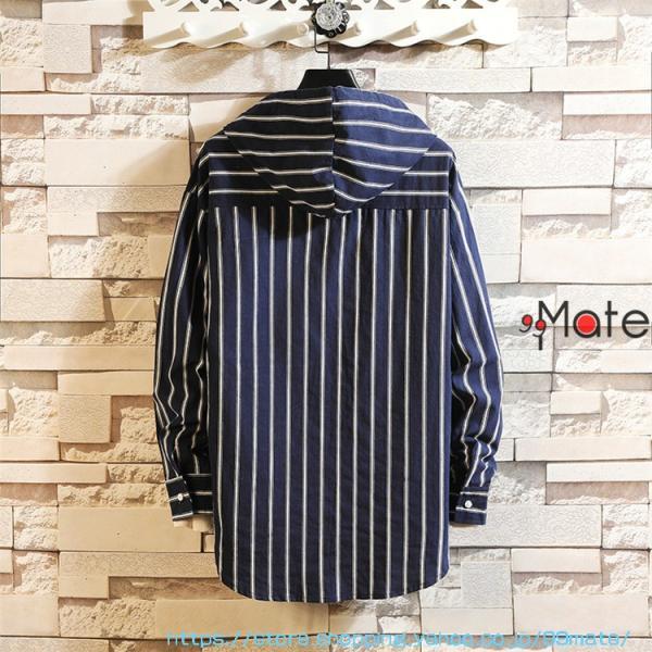 カジュアルシャツ メンズ 長袖 パーカー ストライプ シャツコート ジャケット シャツ ロング丈 アウター ライトアウター|99mate|05
