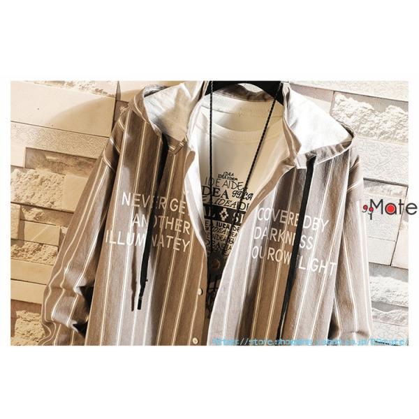 カジュアルシャツ メンズ 長袖 パーカー ストライプ シャツコート ジャケット シャツ ロング丈 アウター ライトアウター|99mate|06