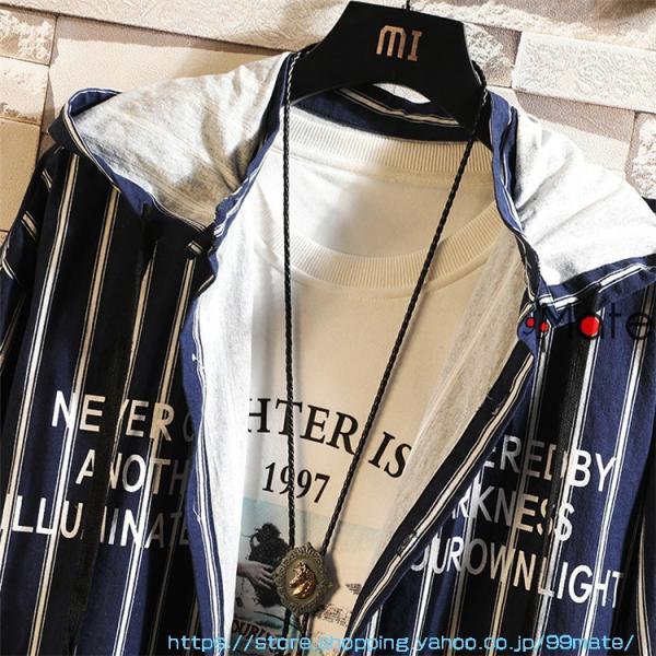 カジュアルシャツ メンズ 長袖 パーカー ストライプ シャツコート ジャケット シャツ ロング丈 アウター ライトアウター|99mate|07