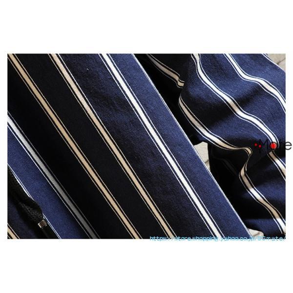 カジュアルシャツ メンズ 長袖 パーカー ストライプ シャツコート ジャケット シャツ ロング丈 アウター ライトアウター|99mate|09