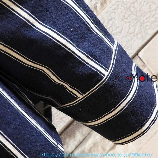 カジュアルシャツ メンズ 長袖 パーカー ストライプ シャツコート ジャケット シャツ ロング丈 アウター ライトアウター|99mate|10