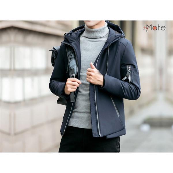 中綿ジャケット メンズジャケット フード付き ショート丈 コート 中綿コート 暖かい ファッション アウター 秋冬 99mate 09