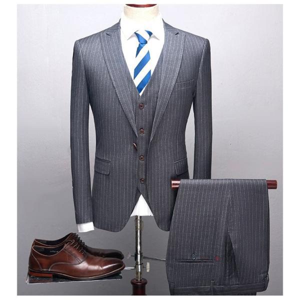 スリーピーススーツ メンズ 3ピーススーツ 1つボタン スリムスーツ ビジネススーツ 紳士服 ストライプ柄 新生活 就活|99mate|11
