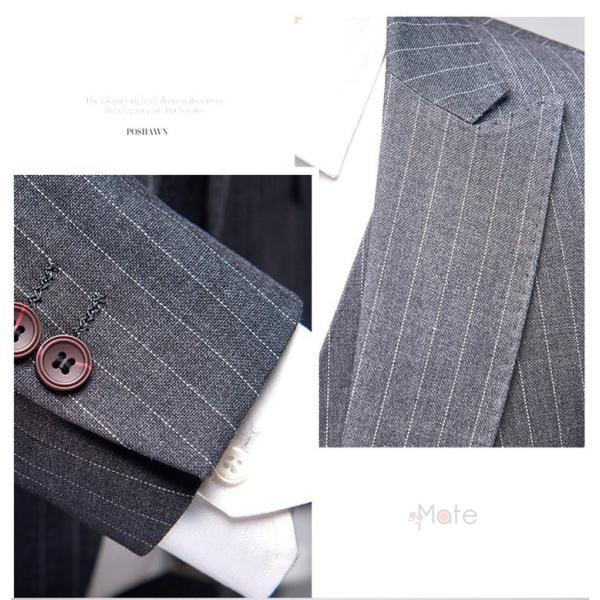 スリーピーススーツ メンズ 3ピーススーツ 1つボタン スリムスーツ ビジネススーツ 紳士服 ストライプ柄 新生活 就活|99mate|12