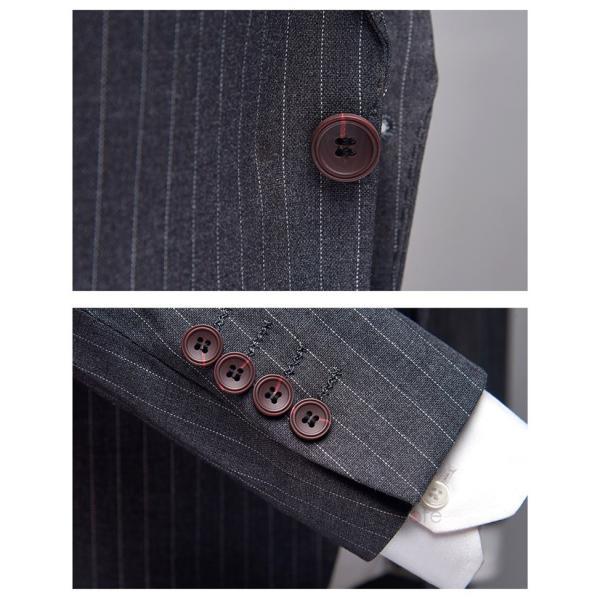 スリーピーススーツ メンズ 3ピーススーツ 1つボタン スリムスーツ ビジネススーツ 紳士服 ストライプ柄 新生活 就活|99mate|14