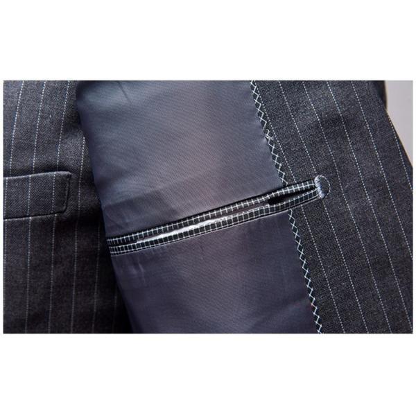 スリーピーススーツ メンズ 3ピーススーツ 1つボタン スリムスーツ ビジネススーツ 紳士服 ストライプ柄 新生活 就活|99mate|15