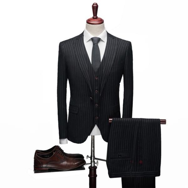 スリーピーススーツ メンズ 3ピーススーツ 1つボタン スリムスーツ ビジネススーツ 紳士服 ストライプ柄 新生活 就活|99mate|03