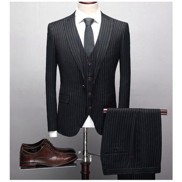 スリーピーススーツ メンズ 3ピーススーツ 1つボタン スリムスーツ ビジネススーツ 紳士服 ストライプ柄 新生活 就活|99mate|04