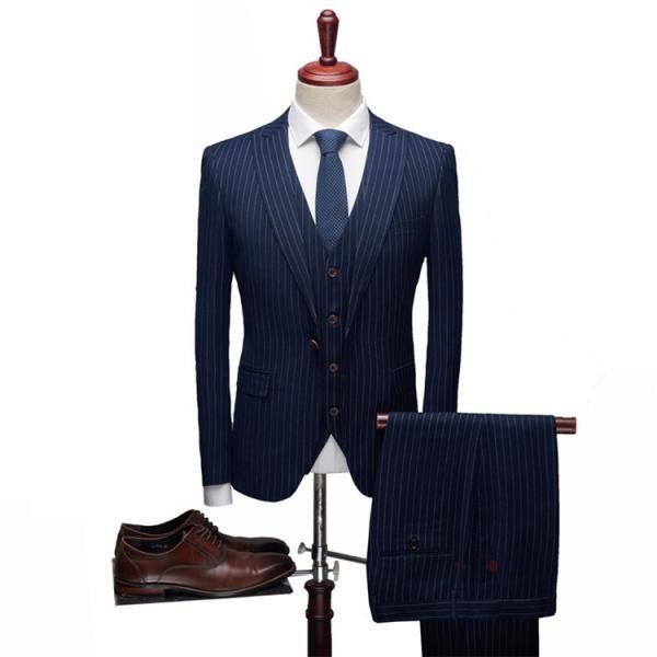 スリーピーススーツ メンズ 3ピーススーツ 1つボタン スリムスーツ ビジネススーツ 紳士服 ストライプ柄 新生活 就活|99mate|05