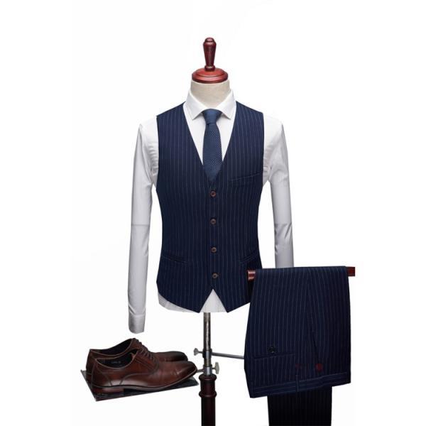 スリーピーススーツ メンズ 3ピーススーツ 1つボタン スリムスーツ ビジネススーツ 紳士服 ストライプ柄 新生活 就活|99mate|06
