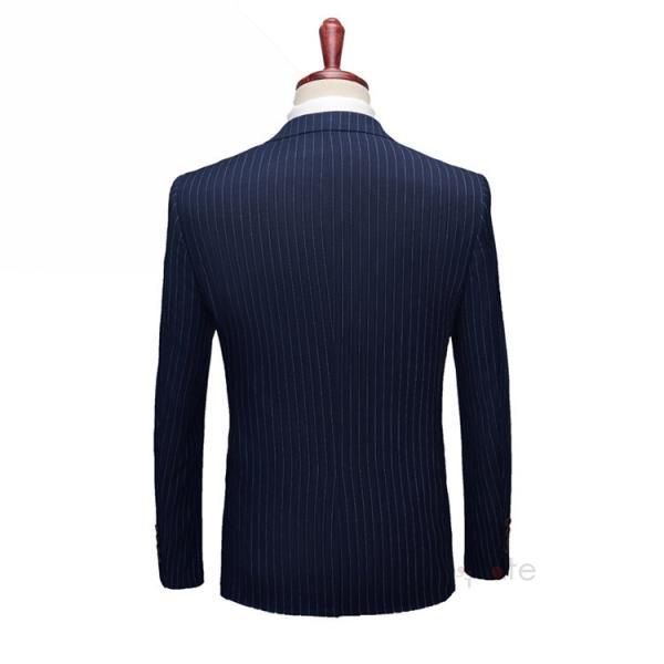 スリーピーススーツ メンズ 3ピーススーツ 1つボタン スリムスーツ ビジネススーツ 紳士服 ストライプ柄 新生活 就活|99mate|07