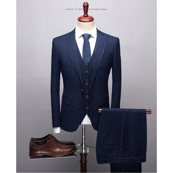 スリーピーススーツ メンズ 3ピーススーツ 1つボタン スリムスーツ ビジネススーツ 紳士服 ストライプ柄 新生活 就活|99mate|08