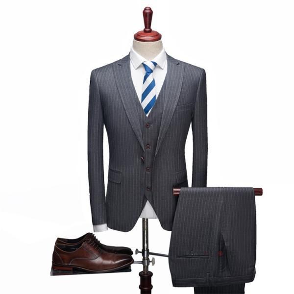 スリーピーススーツ メンズ 3ピーススーツ 1つボタン スリムスーツ ビジネススーツ 紳士服 ストライプ柄 新生活 就活|99mate|10